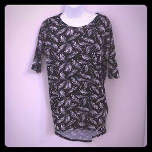 LuLaRoe Black Feather Print Dress XXS